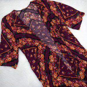 Torrid Burgundy Floral Kimono
